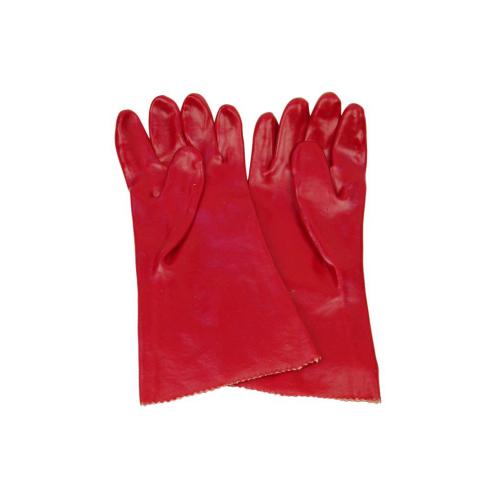 Red PVC Single Dipped Glove,interlock Liner,Gauntlet  BS-001
