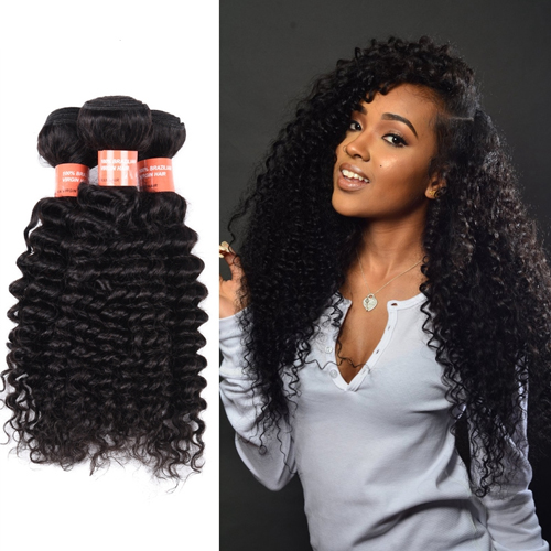 Factory Supply Free Sample Color 1B# Virgin Malaysian Deep Curly Hair Bundles  JFY-006