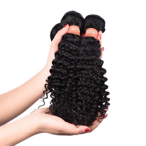 Factory Supply Free Sample Color 1B# Virgin Malaysian Deep Curly Hair Bundles  JFY-006
