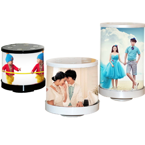 Rotary cylindrical shape photo frame with light  YXN-005