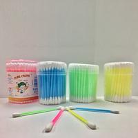 white make-up plastic stick cotton bud swab, double tip cotton buds WJF-006