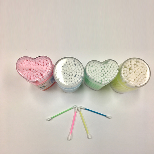 Hot sale Heart-shaped stick cotton swab plastic handle plum toothpick WJF-009