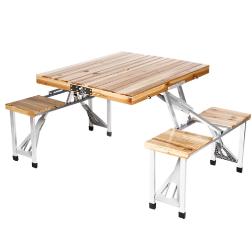 Portable Folding Wood Picnic Table with 4 Bench Seats  DN-WT-01