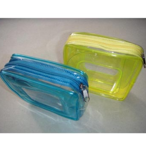 OEM promotional transparent plastic Heat Seal sewing zipper clear pvc cosmetic bag FS024