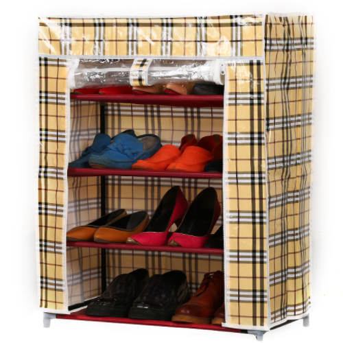 Wholesale High quality folding mini storage shoe cabinet metal shoe cabinet FH A-4