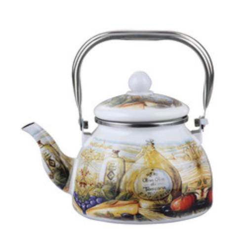 Kitchen Furniture Wood Handle Fat Shape Enamel Teapot  TK188