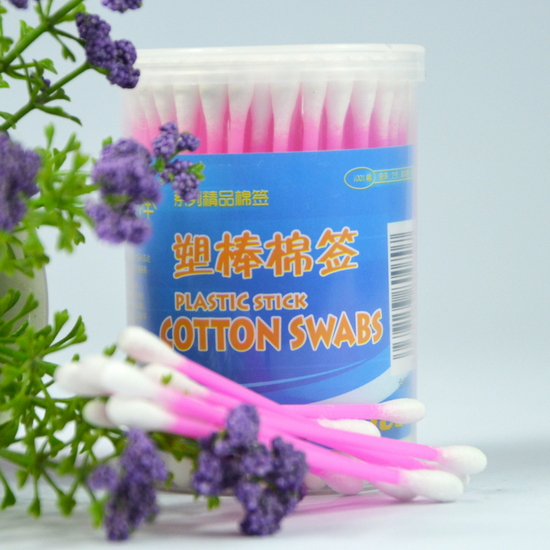 100PCS Colorful Plastic Stick Cotton Buds In PP Round Box  JW-016