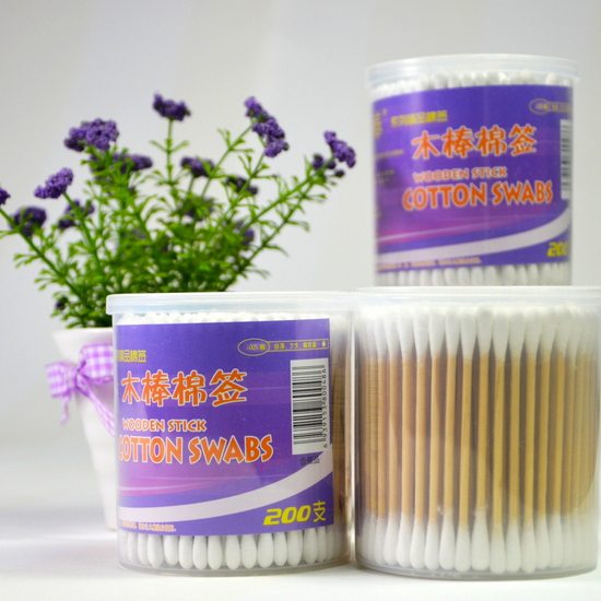 PP Round Box Wooden Stick Sterile Cotton Swabs In Bulk 200PCS/Box JW-017