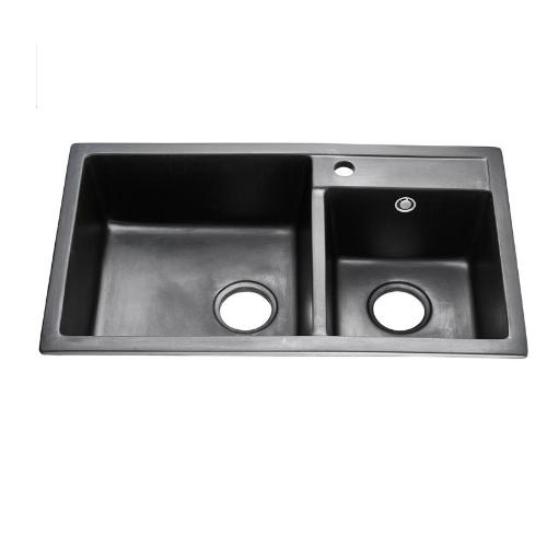 Customized Anti Scrath Stains Free Double Bowl Quartz Stone Kitchen Sink QS 7645