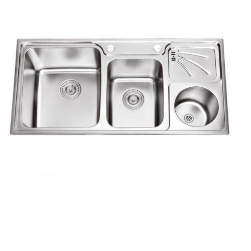 SUS 304 Inox Double Bowl Family Kitchen Sink 9848 with Drainboard Rubbish-Bin  DBR 9848