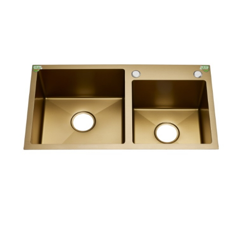 Newest Gold Color Double Bowl Stainless Steel Handmade Kitchen Sink Hrg7843