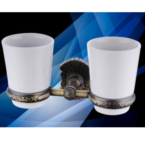 wall mounted bathroom brass tumbler holders with ceramic cups KD-9610