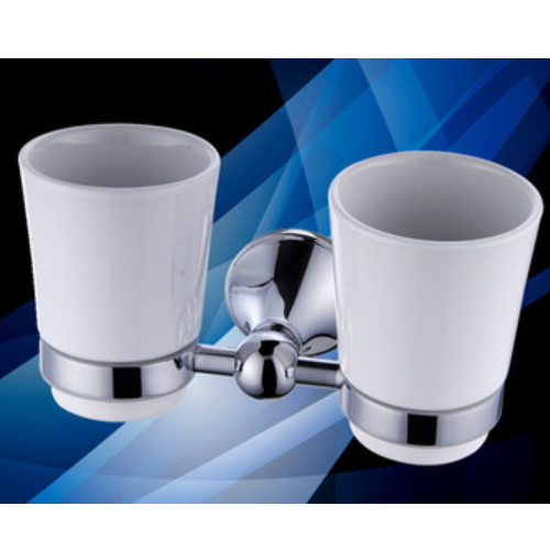Bathroom dual ceramic tumbler with brass holders KD-9710