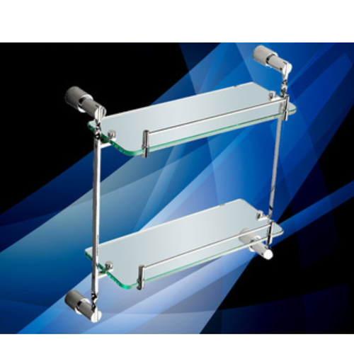 adhesive double glass bathroom shelf  KD-8114