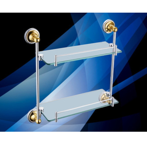 Wall mounted double tier golden PVD glass bathroom  shelf KD9114