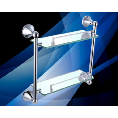 wall mounted double tier corner shelves for bathroom KD-9714