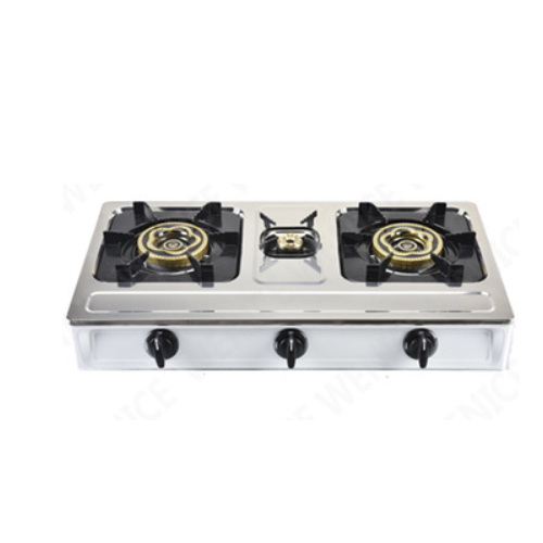 3 burner gas stove stainless steel home table gas cooker stove     7053