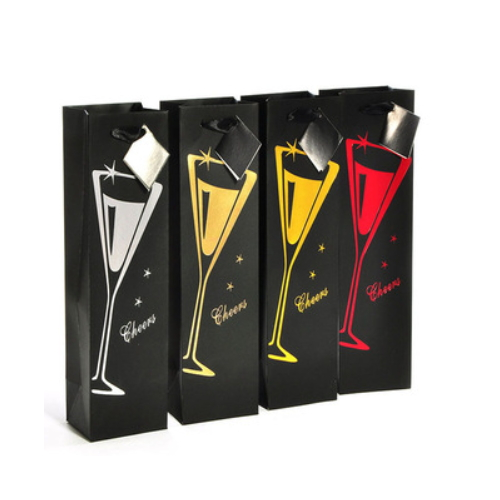 new design plain glass wine bottle gift bag   KR099-1