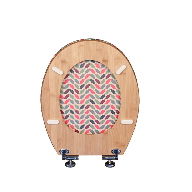 Bamboo Elongated Toilet Seats Lid Covers with Soft Close Hinge Dw-023