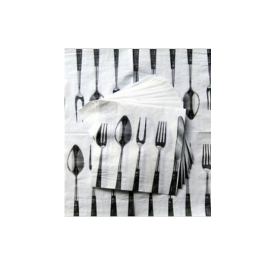 2ply,printed paper napkins with knife and fork     AY-155