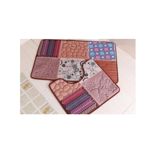 beautiful 3D design 1.2cm foam with flannel fabric non-slip bath mat sets    LZPH-1