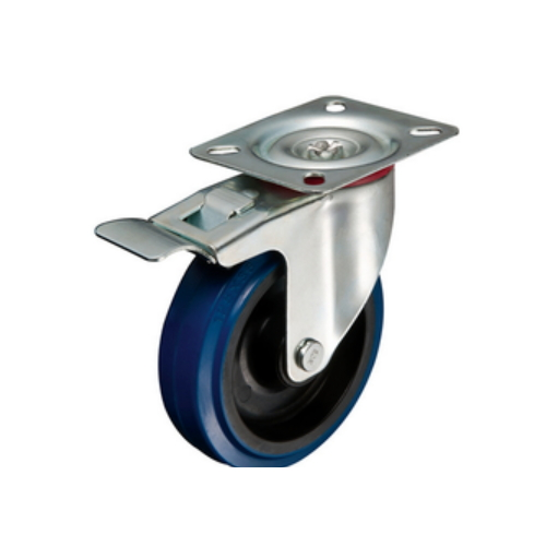 top plate blue with brake elastic caster wheels     W18PQ