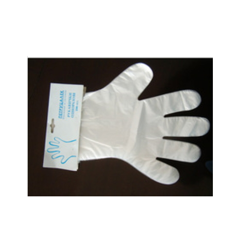 Sample free customized pe plastic gloves    HS117