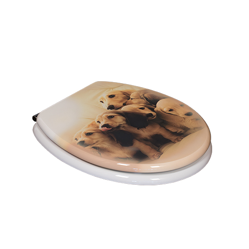 Cute Dog  Designs Decorative Resin Toilet Seats Lid Covers With Soft Close Hinge  DW-28