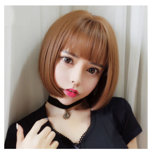 New beauty short synthetic fashion source hair wig, gradient color wig   XC-13