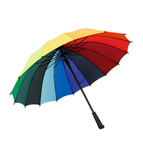 High Quality Straight Rainbow Umbrella with Customized Logo Printing  HS-148