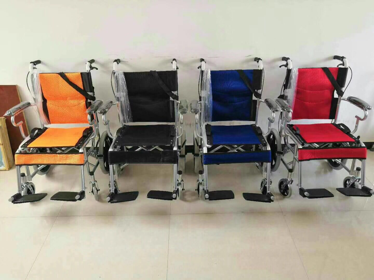 Lightweight aluminum alloy solid tire medical folding wheelchair for the elderly disabled