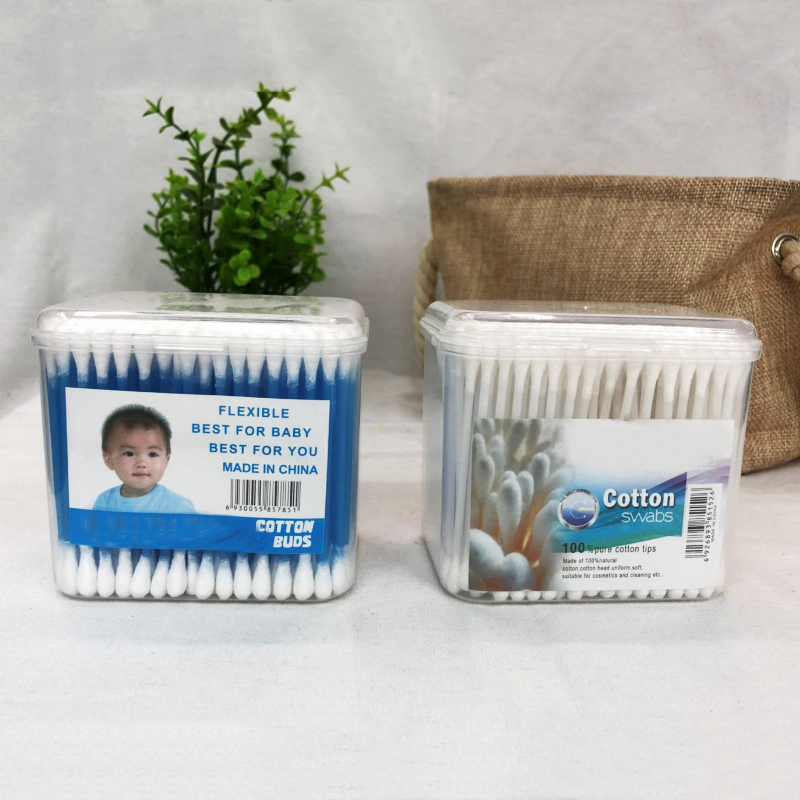 Double-sided Baby Cotton Swabs with Clear Boxes  HJ-02