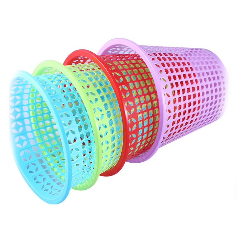 Colorful Portable Small Round Storage Plastic Waste Paper Trash Basket  SC-41