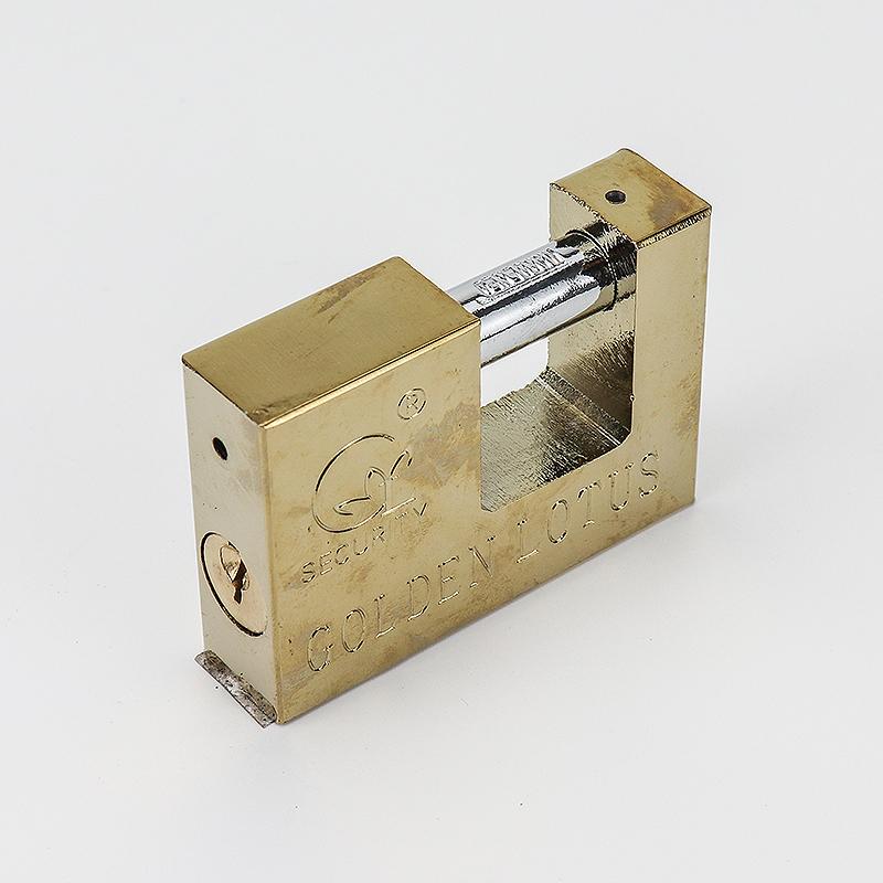 Rectangular yellow iron padlock ZS-003