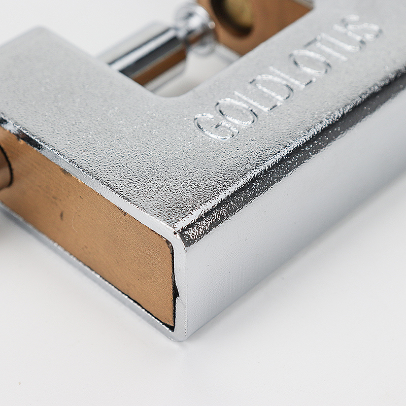 Square silver stainless steel padlock ZS-014