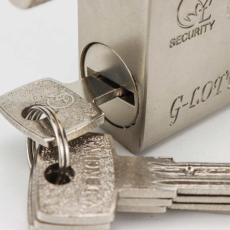 Rectangular silver iron padlock ZS-015