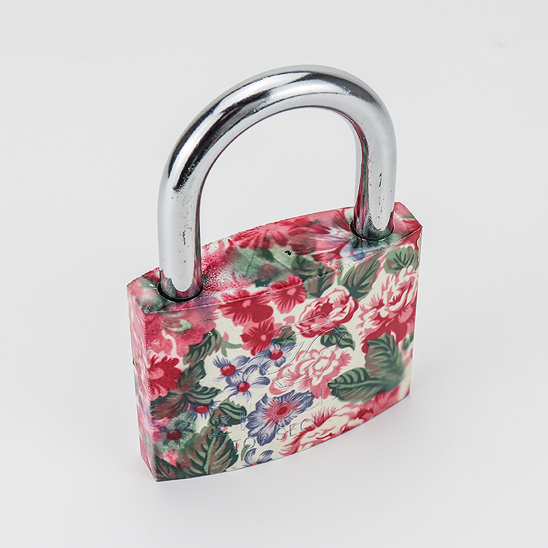 Attractive And Durable Pink Flower Iron Padlock Safety Mini Padlock ZS-029