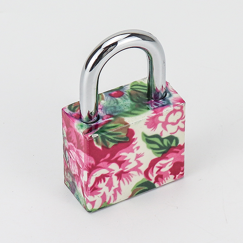 Plastic Printing Flower iron Padlock Multi Color ZS-031