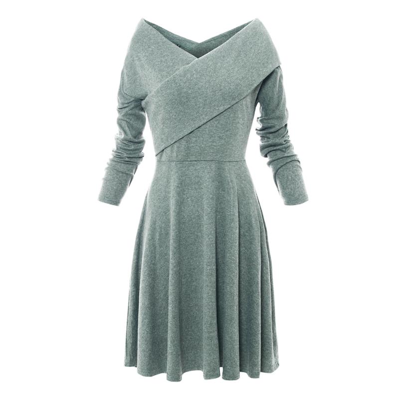 2018 Autumn hot sale women clothes v-neck long sleeve dress MF-006