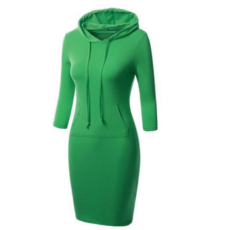 2018 new hooded dress women fashion seven sleeves dress MF--008