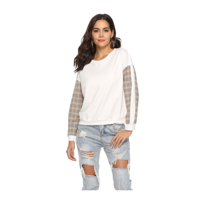 2018 Factory wholesale loose style sports casual plaid stitching round neck cool sweater TMF-001
