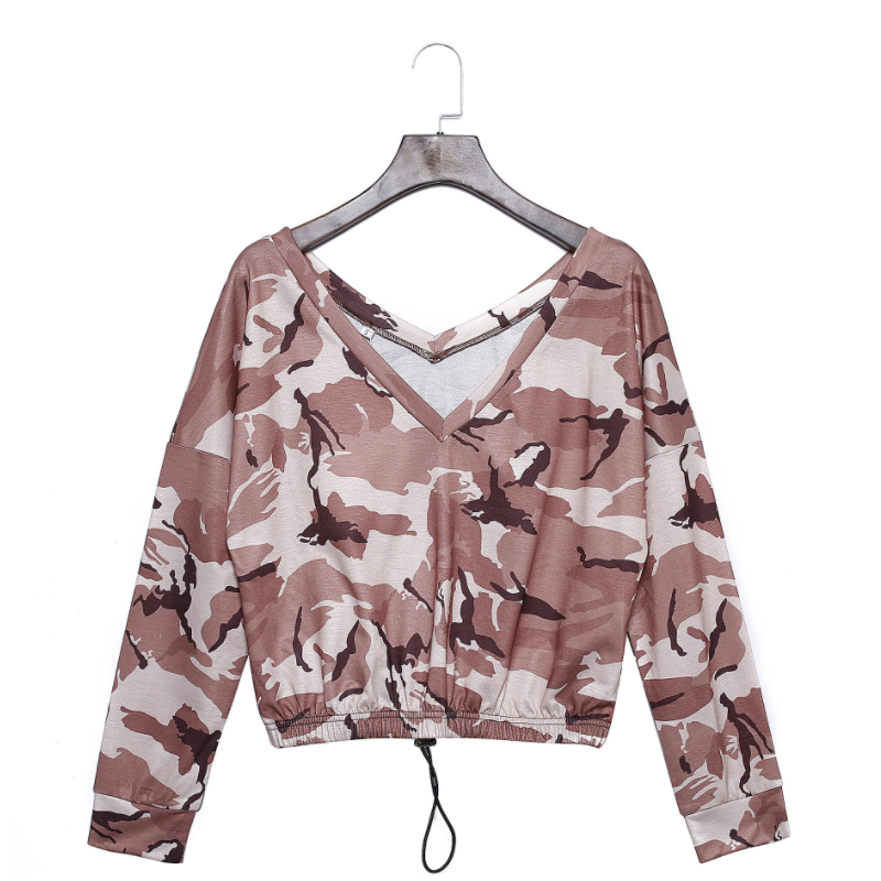 New design fashionable camouflage allover printed ladies crop top hoodies TMF-003