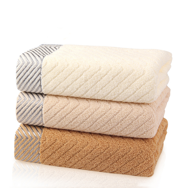 High Quality Striped Lace Diagonal Striped Cotton Towel T-05