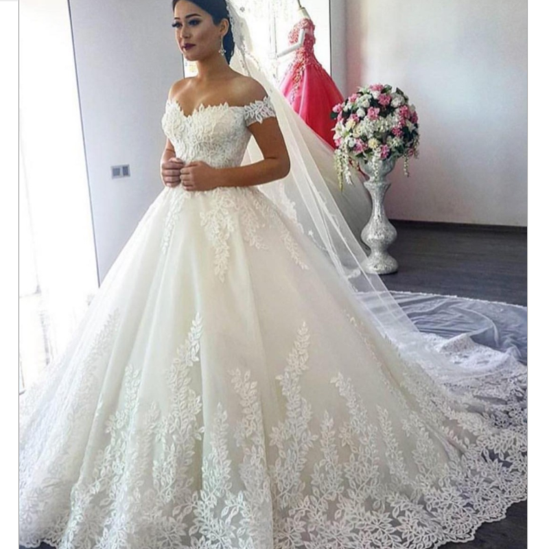 Off the Shoulder Lace Applique Wedding Dresses  Elegant V Neck Wedding Dresses S-002