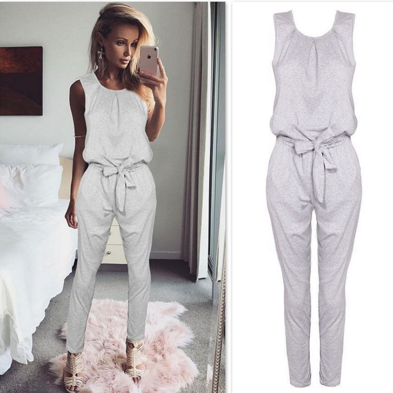 Women Sleeveless straps jumpsuit trousers Dy-001
