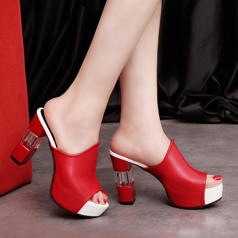 New arrival peep toe mule shoes women high heel sandals S-004