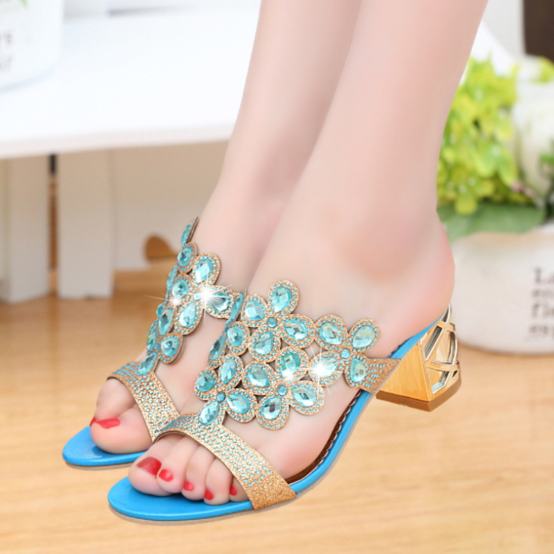 Spring and summer cool slippers new leather flower sandals crystal diamond shoes S-005