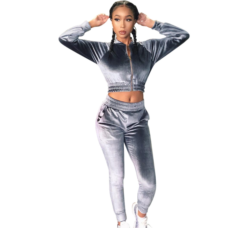 Long Sleeve Zip Front Elastic Jacket And Pants Velvet Training Sportswear Fn-002