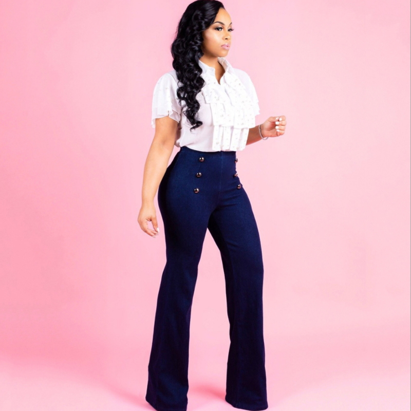 New arrival fashion bodycon high waisted jean trousers for ladies K-001