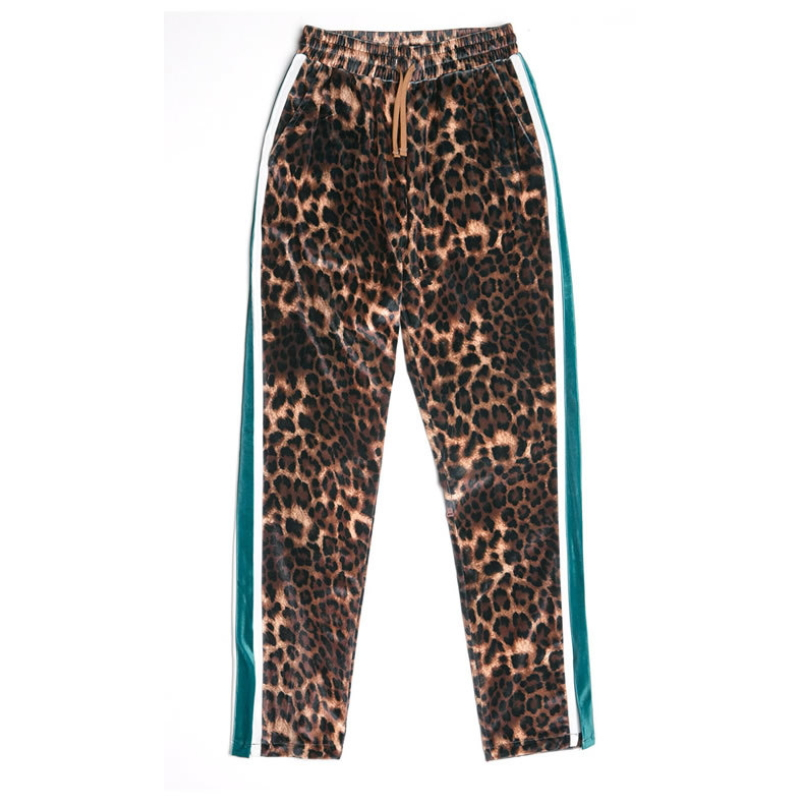 Hot Sale Pocket High Waist Leopard Jeans K-002